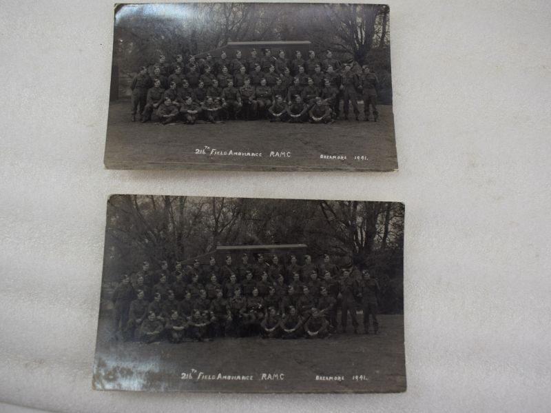 Original WW2 Pair of Group Photographs 216th Field Ambulance RAMC, Breamore 1941.