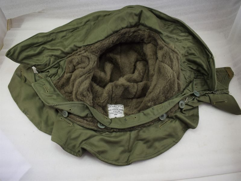 1953 Dated British Removeable Hood For Parka Middle Size 3, 6 & 8.