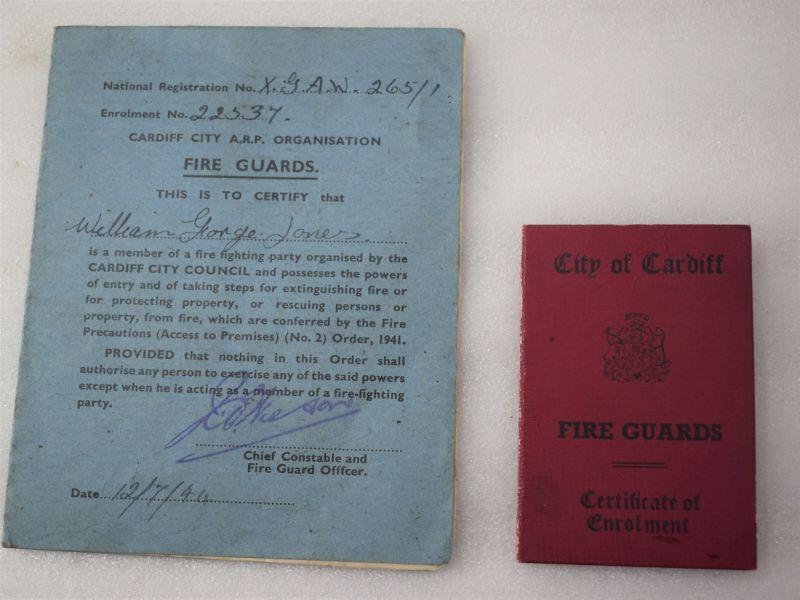 WW2 Husband & Wife Fireguards ID Cards for the City of Cardiff