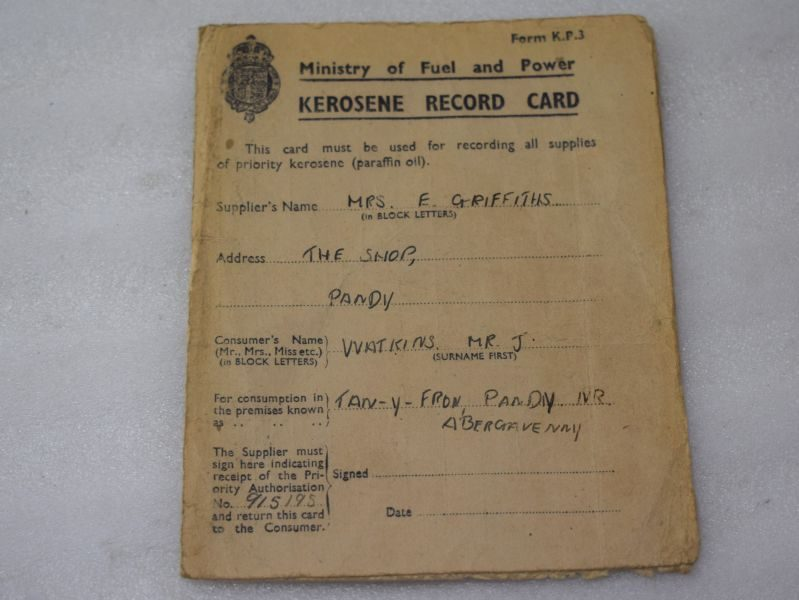 Original WW2 Ministry of Fuel & Power Kerosene Record Card