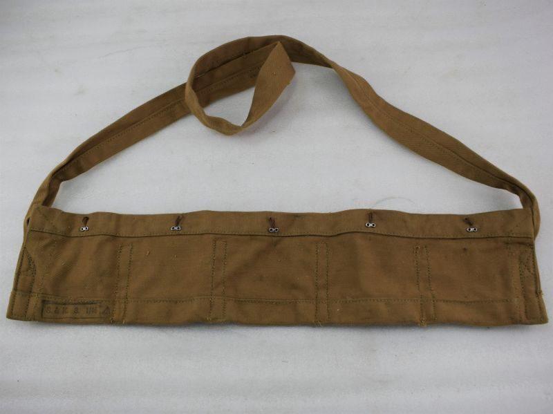 6 Original Early Post WW2 British Army 50 Round Cloth Bandolier 1946