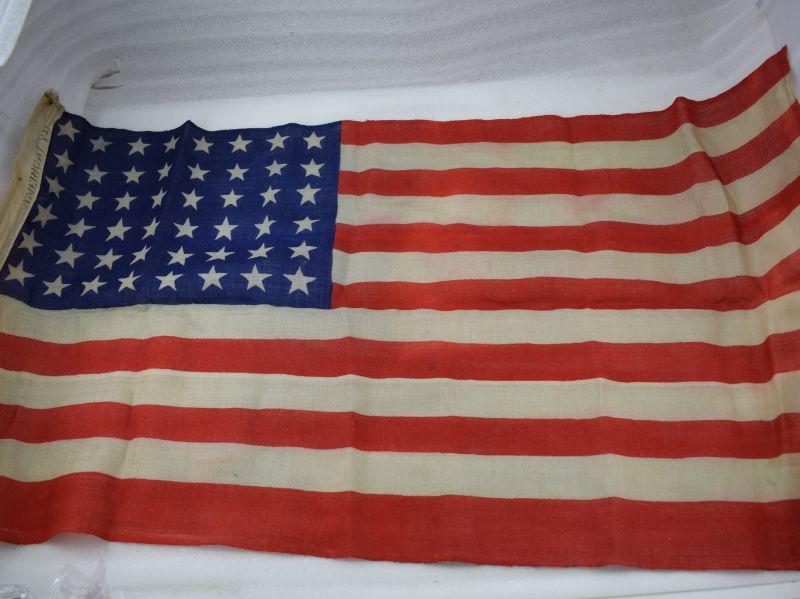 Small Original Ww2 Era Us 48 Star Flag 35 Inches X 18 189