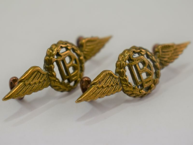 Original WW2 RAF Winged DB Collar Badges RAF Dental Branch