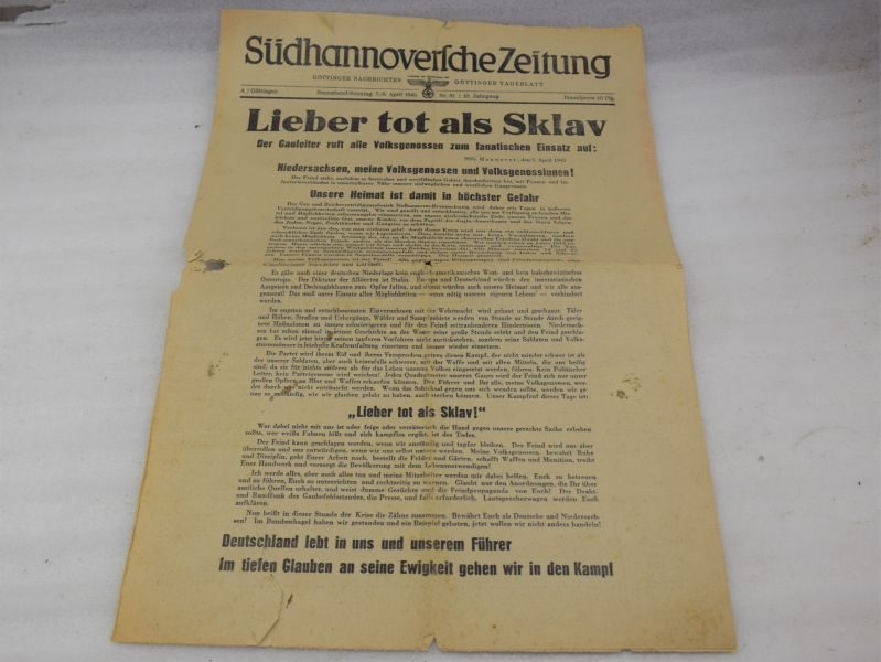 24 Original Late WW2 Nazi Newspaper April 1945