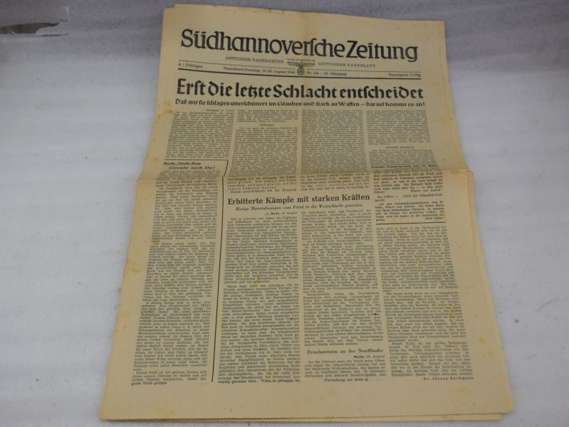 25 Original WW2 Nazi Newspaper August 1944