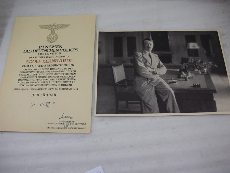 WW2 Luftwaffe Officers Commission to Flieger-Hauptingenieur with Hitler Photo & Signature