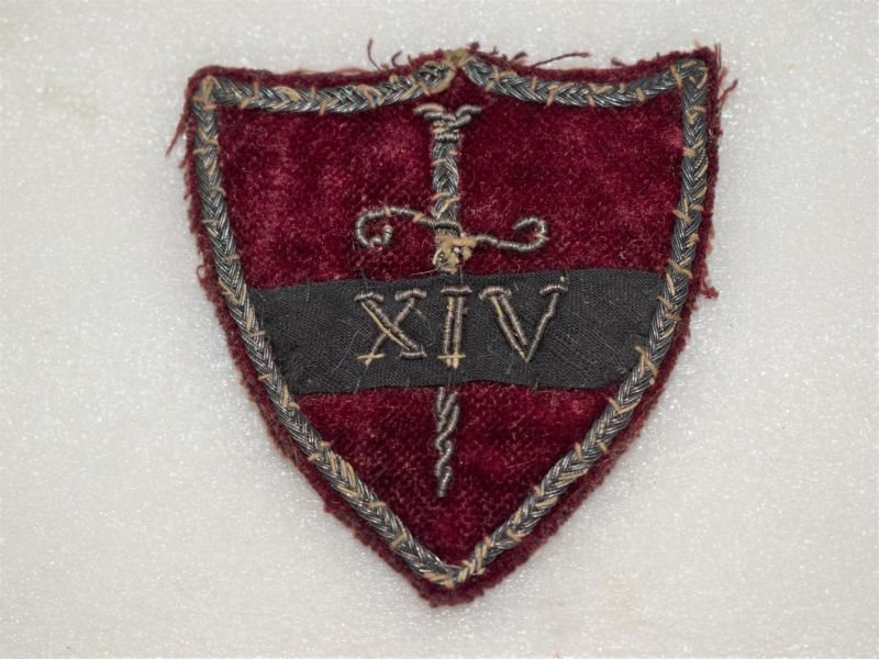 Very Ornate Velvet & Silver Wire XIV Cloth Badge 14th Army