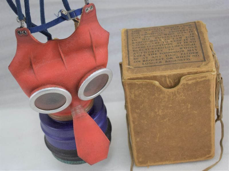 Excellent WW2 British Small Childs Mikey Mouse Respirator & Box