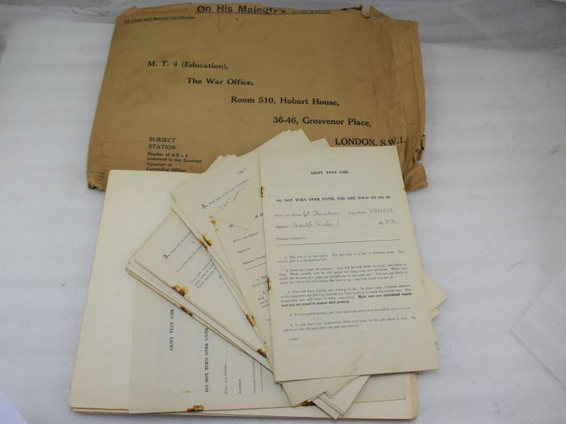 1941 Dated British Army Test FHR test sheets and answer overlays, South Wales Borderers