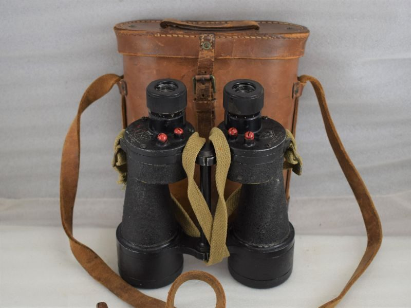 Excellent Clear British Army 7X50 Binoculars Prism No5 MK5 Dated 1944 & 1942 Dated Case