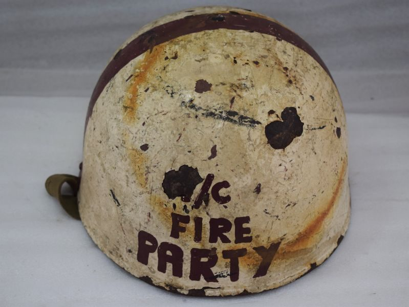 Tatty Unusual WW2 British Army Tank Crew helmet & Liner, Fire Party