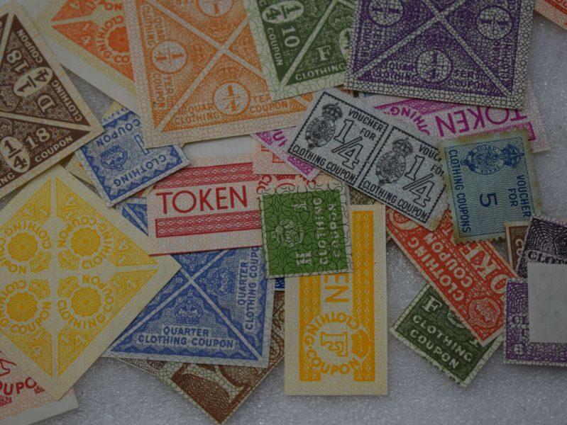 WW2 British Shop Clothing Coupon Banking Envelope and Coupons