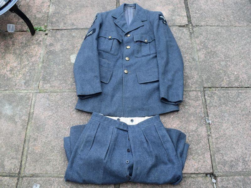 Original WW2 RAF VR Blue Serge OA Uniform Jacket & Trousers with ID 1941