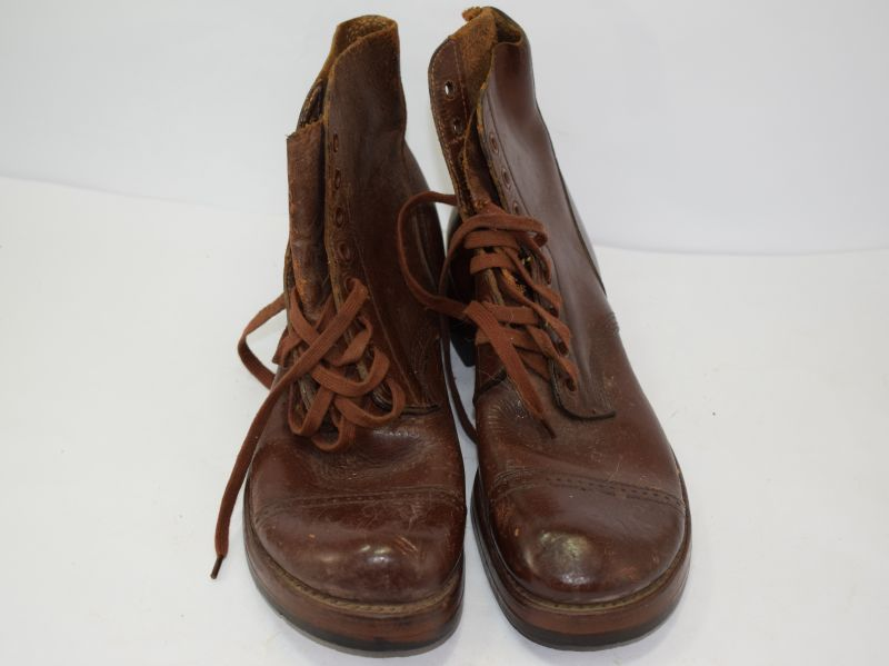 Original WW2 US Army Issue Ankle Boots Dated 1942 - World War Wonders
