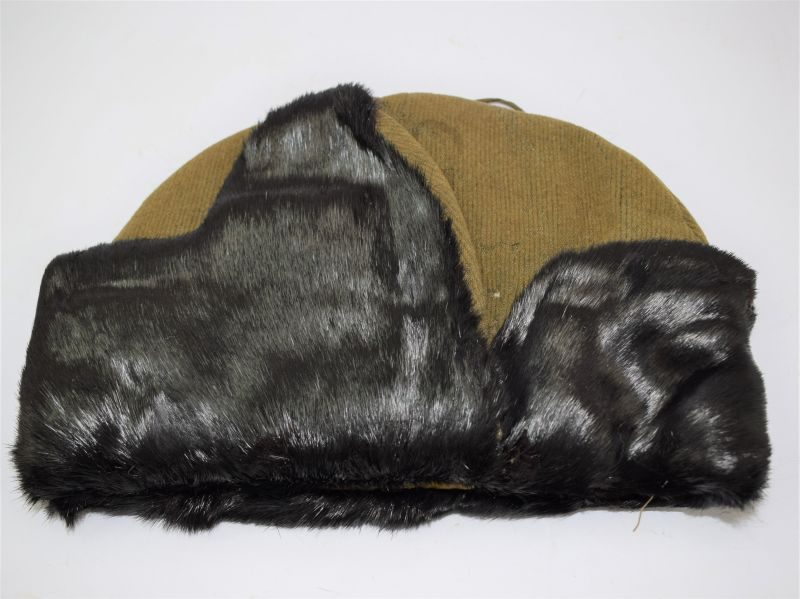 WW2 British Army Cold Weather Cap With Seal Fur Edging 1941.