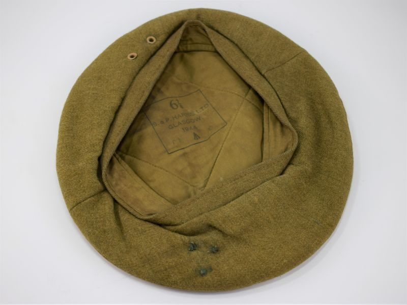 Original WW2 British Army General Service Cap Dated 1944 Complete With Metal Former