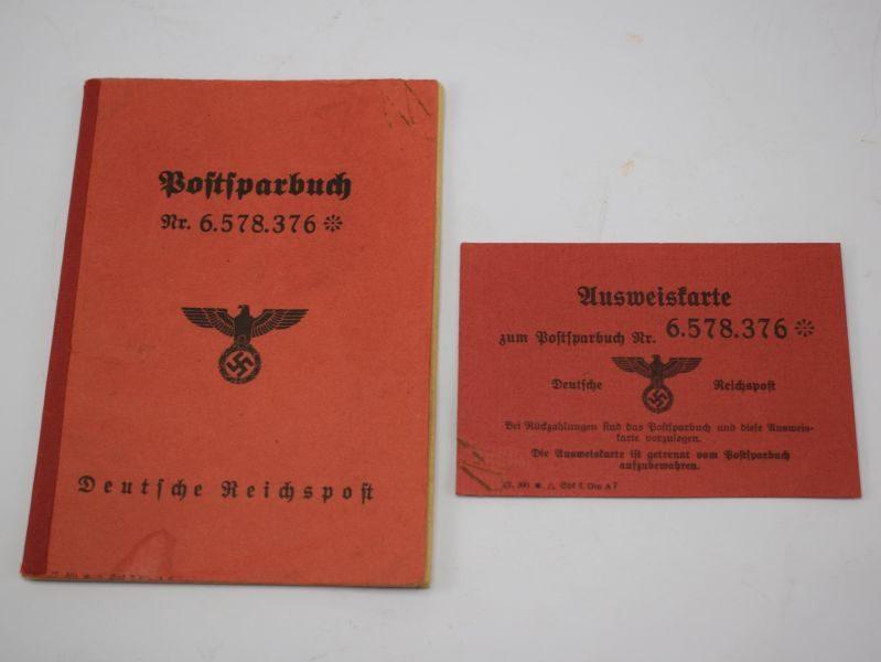 Original WW2 German Nazi Post Office Savings Book And ID Card