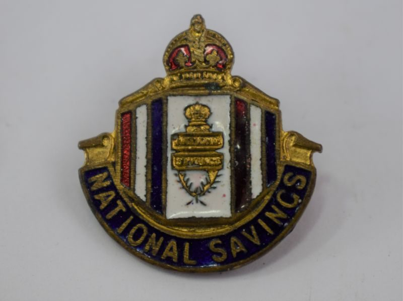 WW2 Era National Savings Pin Back Enamelled Badge