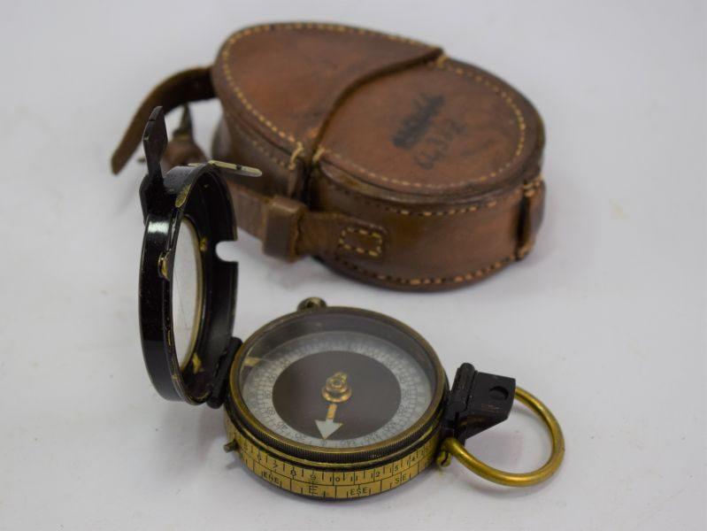 27 Original WW1 British Military Officers Verner's Pattern VIII Compass & Case