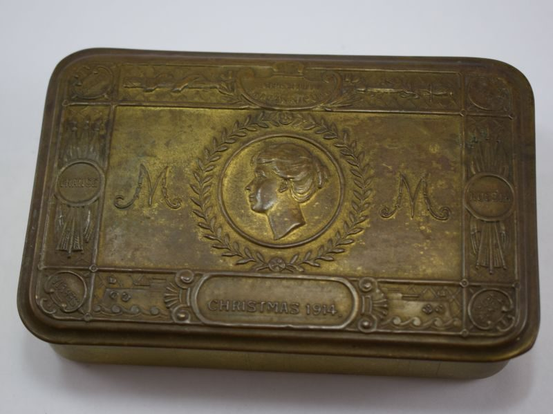 Original Un-Cleaned WW1 British Princess Mary Gift Tin from Christmas 1914