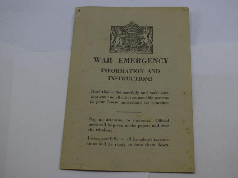 Original Early WW2 Pamphlet War Emergency, Information & Instructions