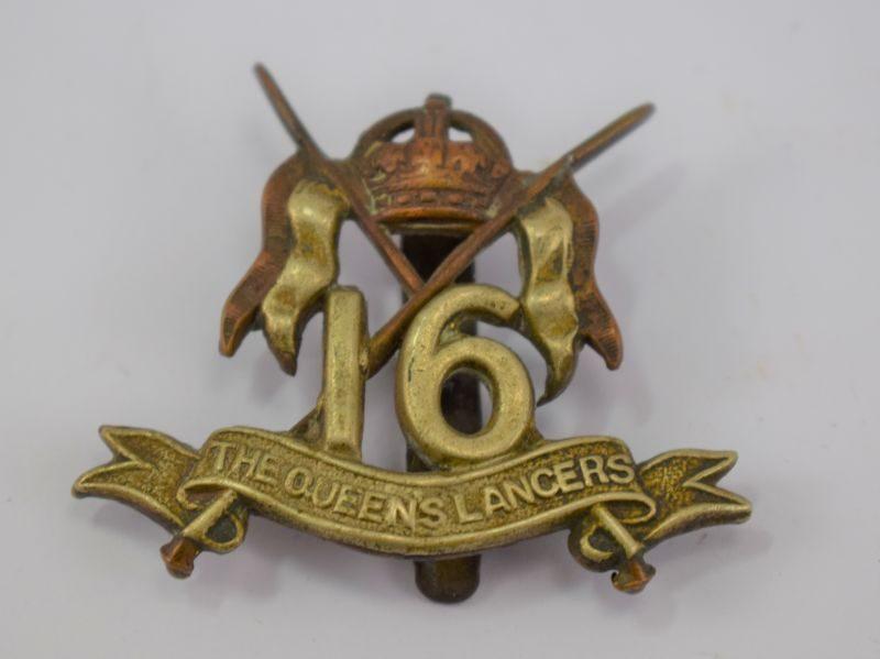 Original WW1 WW2 The Queens 16th Lancers Cap Badge