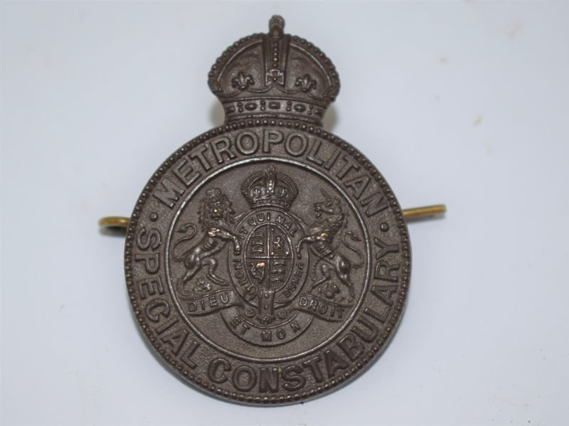 WW1 British Metropolitan Police Special Constabulary Bronze Cap Badge