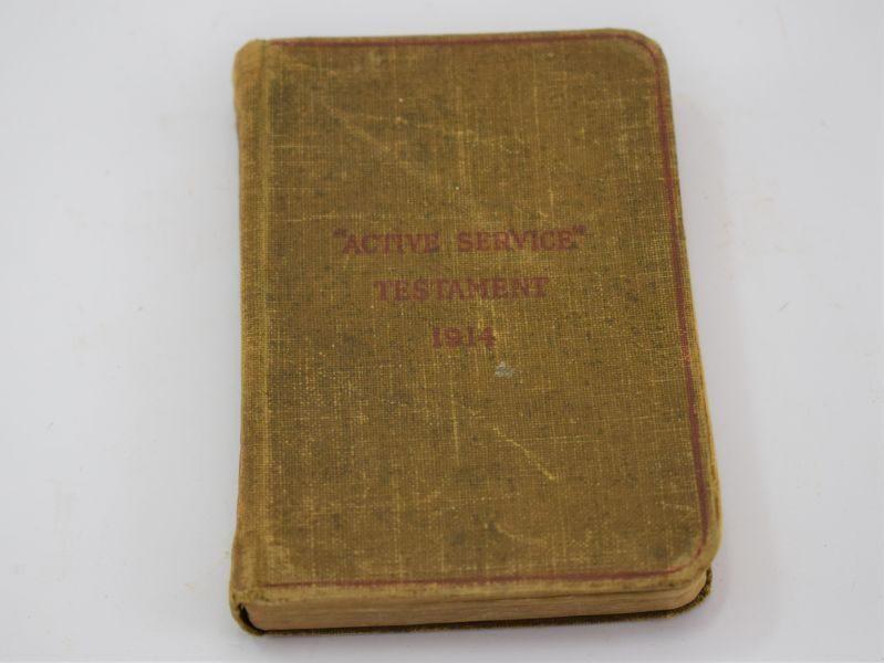 Nice Original WW1 British Pocket Size Active Service Testament 1914