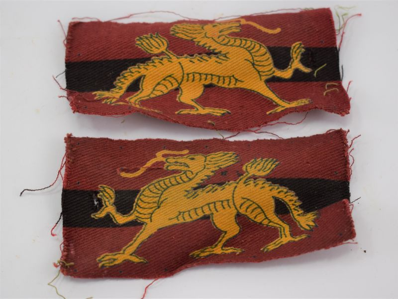Early Post WW2 British Army Land Forces Hong Kong Cloth Insignia Pair