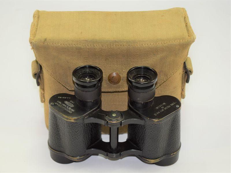 Excellent WW2 British Army Binoculars Prismatic No2 MKII 1943 & P37 Web Case MECo 1941