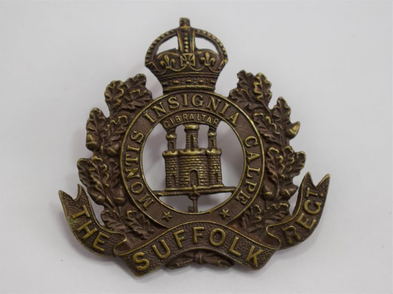 WW1 WW2 Officers Bronze Cap Badge The Suffolk Regiment