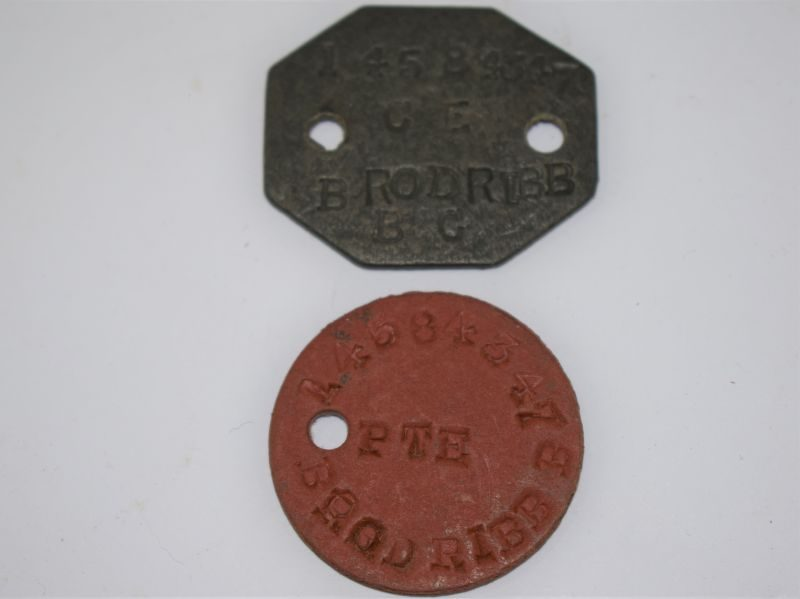 WW2 British Army Issue Dog Tags to Sgt 14584347 Brodribb B.C. Royal Signals