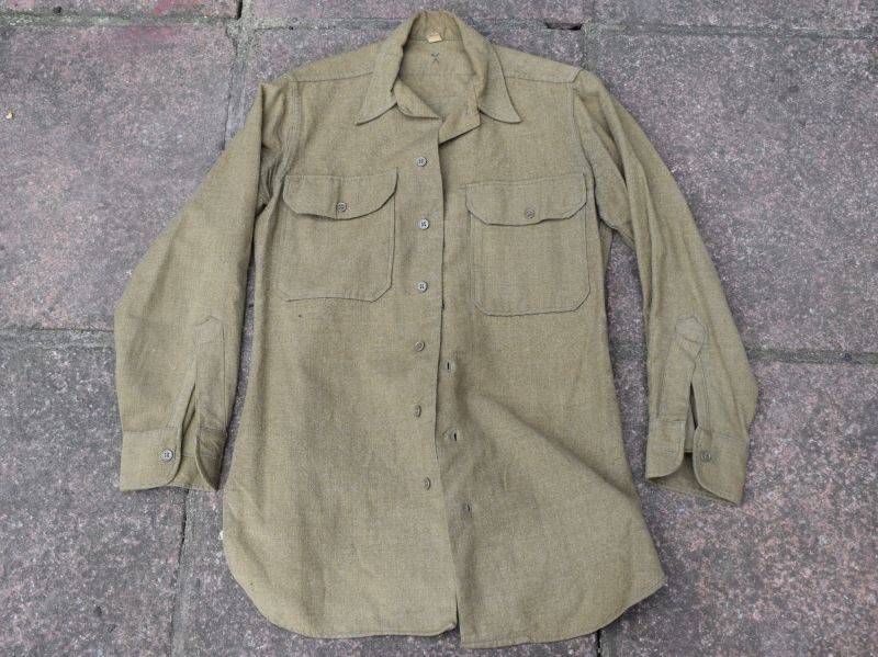 Original WW2 US Army Issue Enlisted Mans Shirt With Gas Flap
