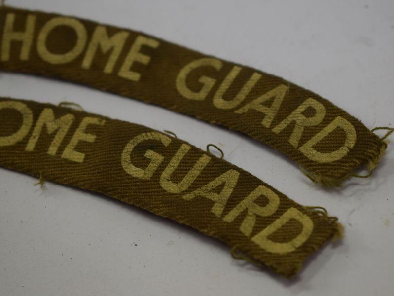 Excellent Original WW2 Home Guard Cloth Shoulder Titles