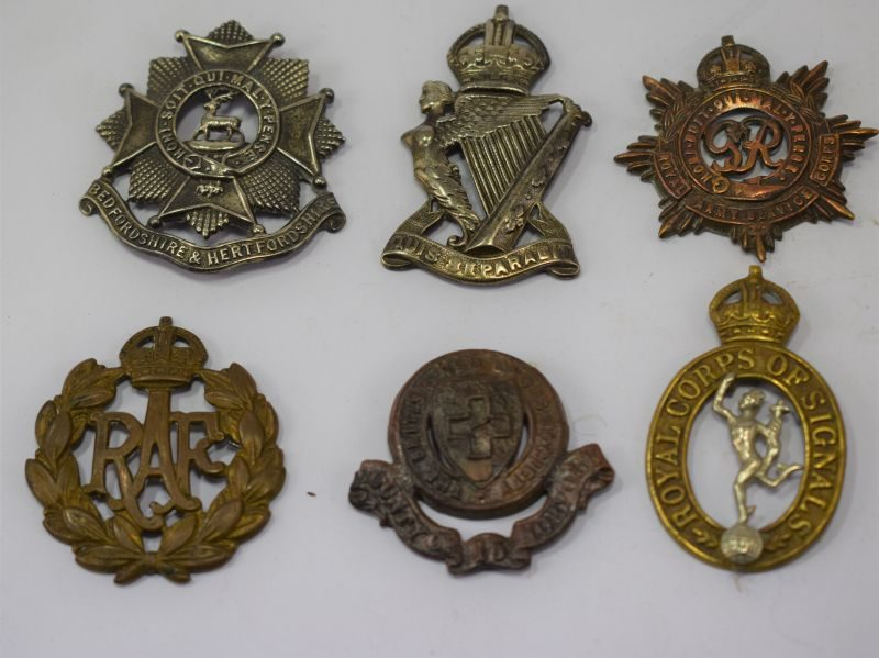 A Set of 6 Original WW1 & WW2 Cap Badges All with Broken Fixings