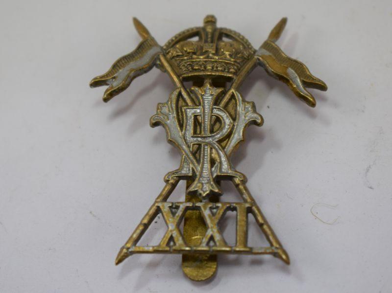 Original Early WW1 British XXI Cap Badge 21st Lancers