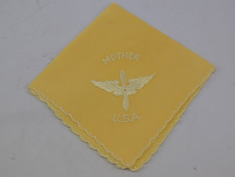 WW2 USAAF Loved Ones Hanky, Mother over USAAF wings & Propeller over USA