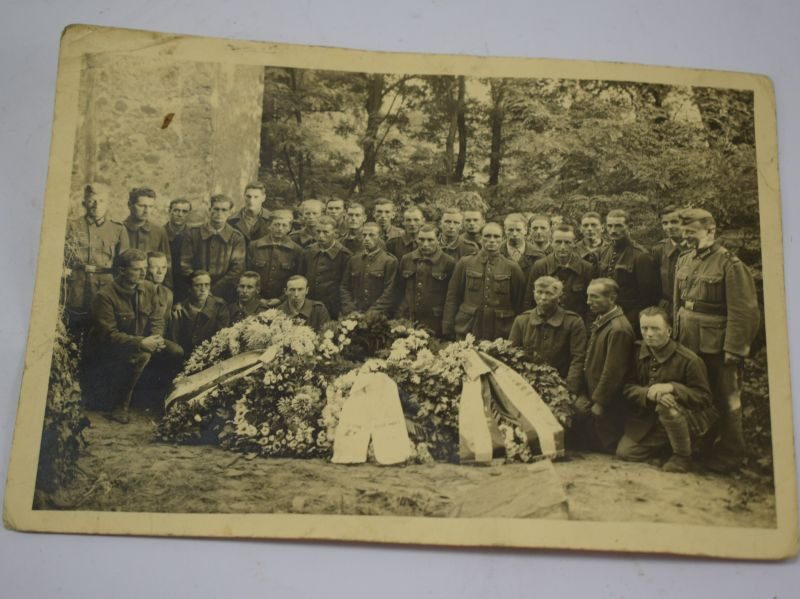 Interesting WW2 Photo Stalag III E German Guards, French Soldiers & Flower Covered Coffin
