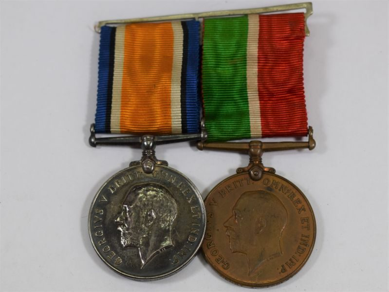 Original Court Mounted WW1 Mercantile Marine Medal Pair Henry A Middleton