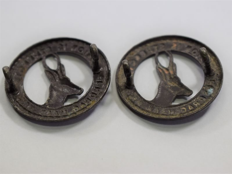 Original WW1 WW2 South African Army Collar Badge Pair