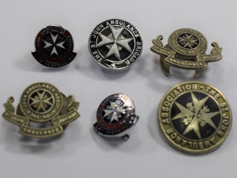 Group of 6 Vintage St John Ambulance Lapel & Pin Badges