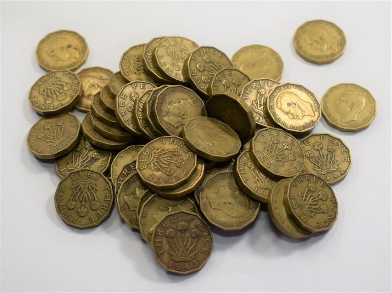 Group of 52 Wartime British Three Pence Pieces 1937-1945