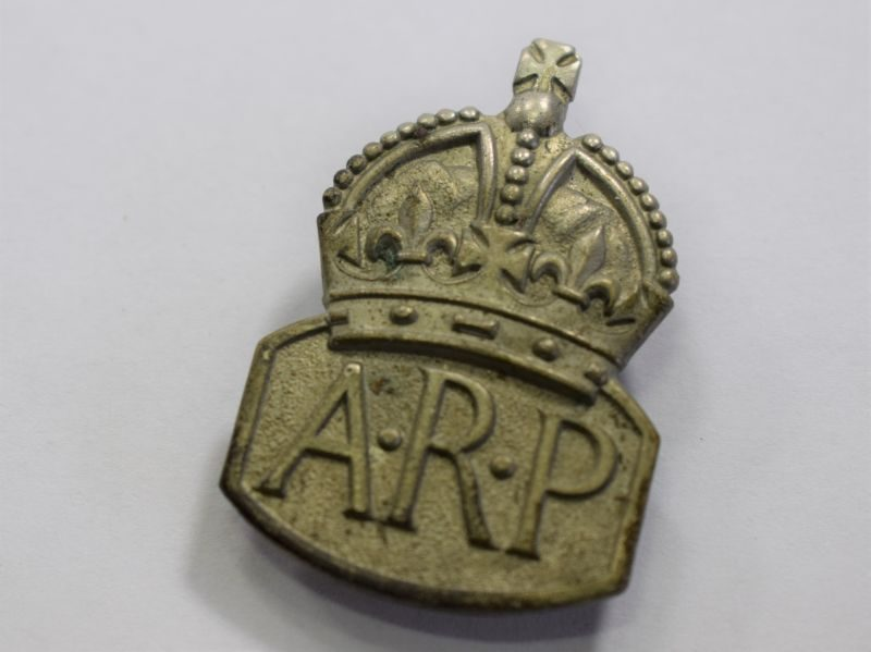 WW2 White Metal ARP Lapel Badge By J.R.Gaunt