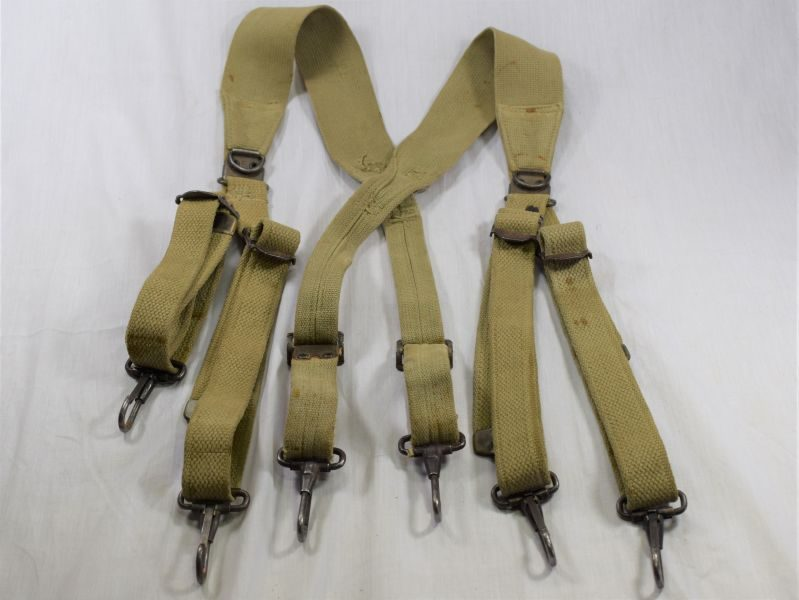 Early WW2 US Army Webbing Suspenders Set Dated 1942