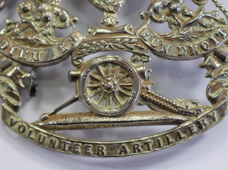Very Nice 100% Original Large Victorian Helmet Plate Volunteer Artillery Helmet Badge