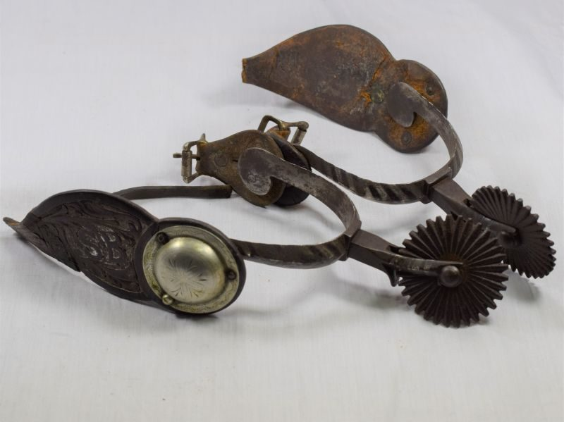 Early 1880s? Large Ornate Burman Star Marked Spurs with Owners Initials to Leather