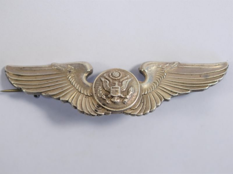 Original WW2 USAAF Aircrew Sterling Silver Wing Badge A.E.Co. Utica N.Y.