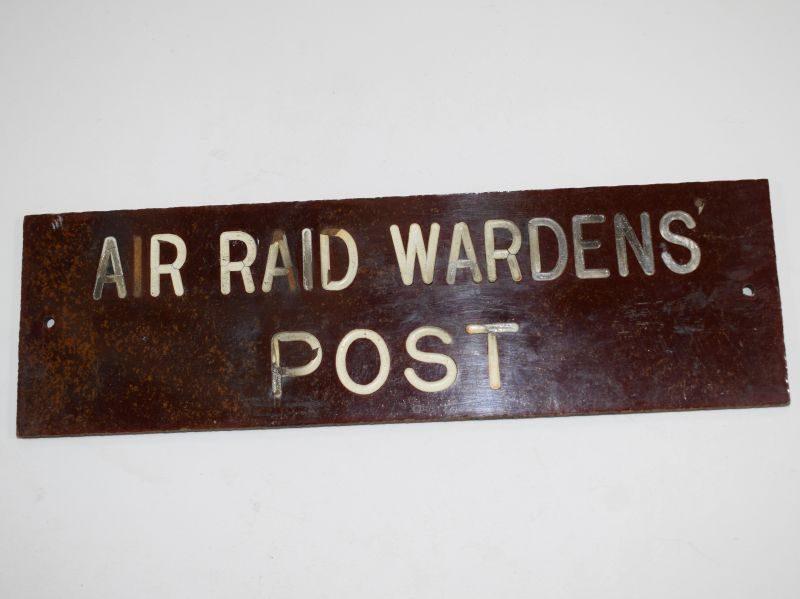 Original WW2 Air Raid Wardens Post Wall Sign