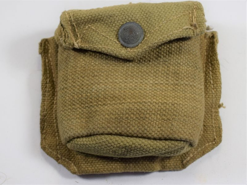 WW2 Indian Made British Army P37 Web Padded Compass Case COL 1942.
