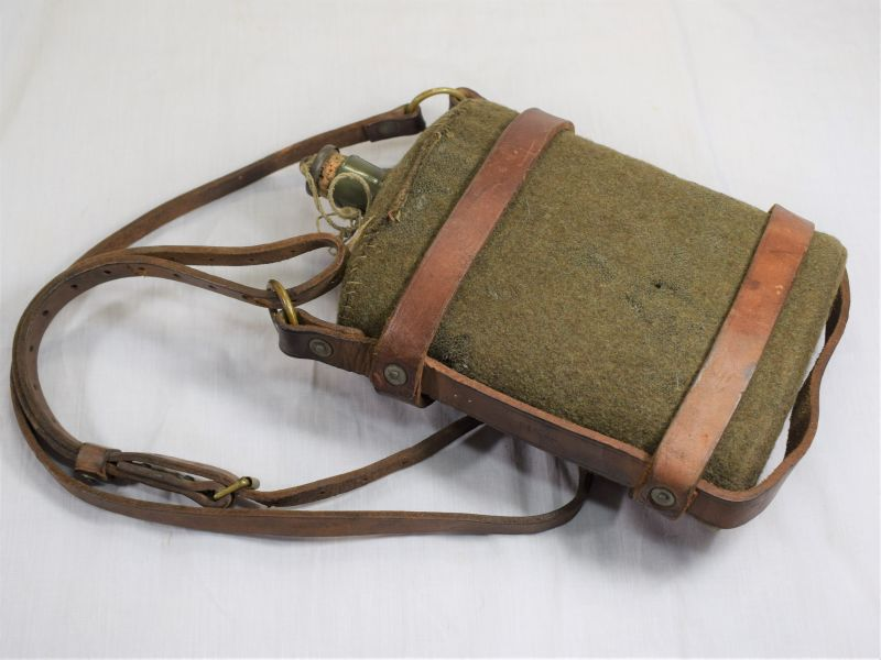 WW2 British Army & Home Guard Issue Water Bottle & Leather Cradle